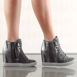 6e640729d9b Dkny Shoes - Dkny Women Dk Grey Grommet Zip Gunmetal Shoes 6.5